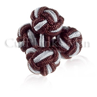 http://site.cufflinksman.com/images/cuffs/SK-0020_Silver_and_Brown_Silk_Knots.jpg
